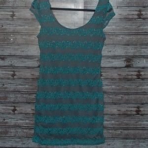 CANDIES GREY AND TEAL MINI DRESS